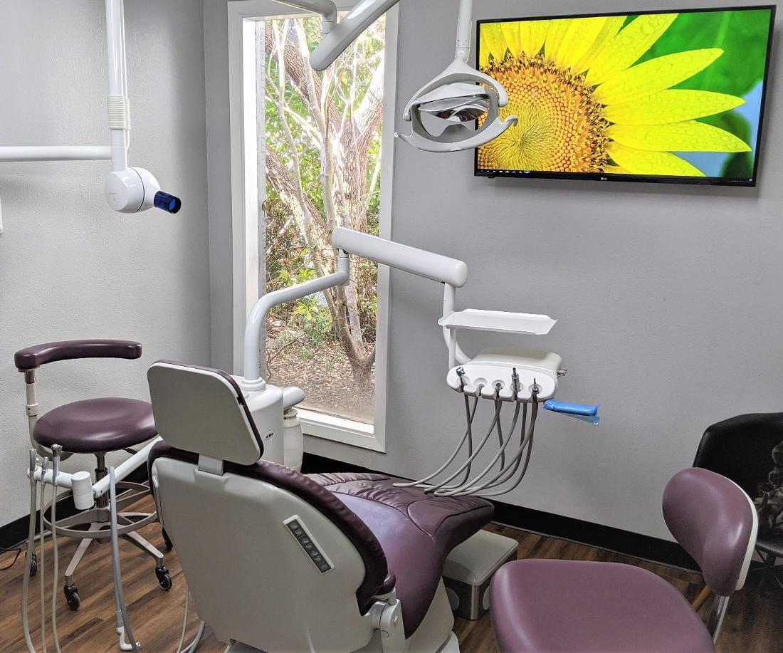 A dental exam room at Garland grove dentistry